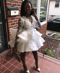 White Short Prom Dress 2020 African Black Girl Sexy Lace Top Handmade Flowers V-neck Long Sleeve Mini Graduation Homecoming Dress