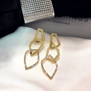 Fashion Irregular Geometric Drop Earring for Women Exaggerate Golden Rhinestone Dangle Earrings Jewelry Gifts
