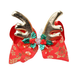 JOJO Siwa Girls Hair Bows Christmas Golden Elk Horn Antlers Diamond Bow Hairpin Girl Clippers Kids Hair Clips Hair Accessories D92202