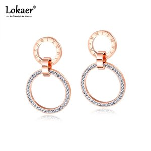 Lokal earrings with cubic zirconium glass plugs DOUBLE pink gold for women's Earrings