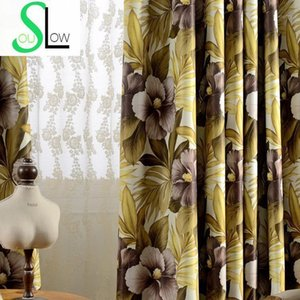 Large Coffee Floral Curtain Cortinas Living Room Modern Luxury Curtains For Valance Cotton Drapery-cloth Rings1