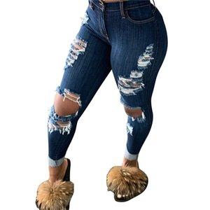 Jeans Donne Strappato Pantaloni Slim Slimny Hole Hole Denim Personalizzato Fashion Femminile Jeans Pantaloni vuoti Pantaloni a matita lunga Pantaloni a matita Nappe Buche HH2104