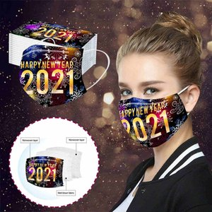 2021 happy new year print adult disposable mask personality disposable dustproof and breathable protective mask with free ship