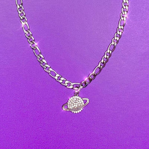 Chokers Cute Crystal Planet Pendant Necklace Women Harajuku Punk Girls Sliver Chains Choker Stainless Steel Waterproof
