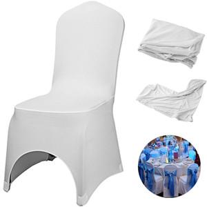 Vegral Sedia bianca Coperture 50/100 / 150pcs Stretch Stretch Polyester Spandex Slipcovers per banquet Dining Party Decorazioni di nozze 201120