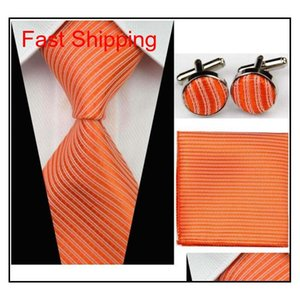 Accessories Ties For Men Solid Striped Pattern Business Silk Tie Sets Hanky Handkerchief Cufflinks Red Bla qylSgF new_dhbest