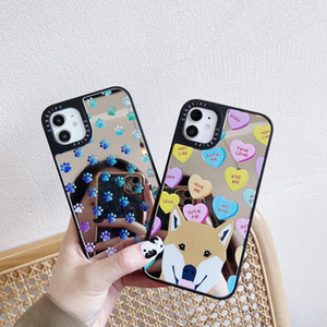 Lovely Cartoon Dog Mirror Back Cover Foot Print Sturdy Phone Shell for iPhone 12 Mini 11 Pro Max XR XS 6s 8 Plus