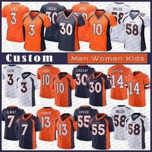 3 de Drew Bloqueio DenverBronco personalizado Homens Mulher Kids Football Jersey 10 Jerry Jeudy 30 Phillip Lindsay Von Miller Bradley Chubb K. J. Hamler