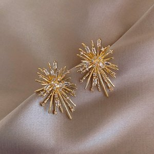 Korean New Design Hot Sale Fashion Jewelry Personality Firework flowers Earrings Metal Copper Inlaid Zircon Earrings for women