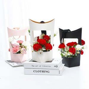 Portable Kraft Paper Bags Flower Rose Box With Handle Waterproof Bouquet Florist Gift Packing Valentine's Day Party Gift Empty box EWF4