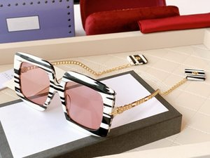 new Women G0722S White Black Red Exclusive Square Sunglasses Eyewear with Charms mother of pearl effect striped acetate frame