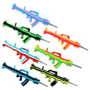 Ak47 arma arma silicone néctar néctar kit coletor portátil tubulação de água tubulação de tubos de fumaça com ponta de titanium plataformas petrolíferas