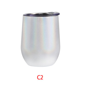 Fedex 12oz Rainbow Wine Tumbler Egg Shaped Stemless Tumbler Double Wall Stainless Steel Tumbler 12 OZ Wine Glass Portable with lids