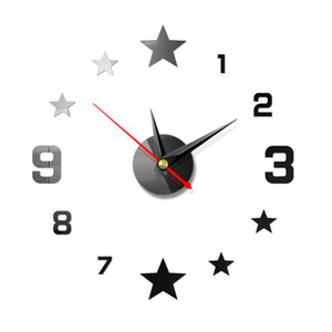 Wall Clock Living Room Office Acrylic DIY Background Home Decor Analog 3D Mirror Modern Number Star Large Mute Hanging Clock