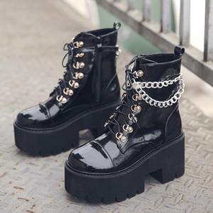Kadınlar Gotik Ayak Bileği Çizmeler Zip Punk Stil Platformu Ayakkabı Goth Kış Dantel-Up Patik Tıknaz Topuk Seksi Zincir Dropshipping 201128