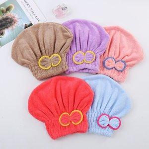 Quick Drying Korean Bow Coral Veet Magic Super Absorbent Dry Hair Hat Bath Cap