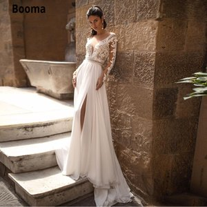 Booma Chiffon Beach Dresses Boho Lace Backless Sheer V Neck Long Sleeves Side Split Bohemia Wedding Bridal Gowns Custom Q1110
