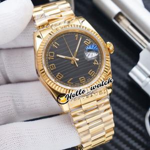 새로운 36mm Datejust 116233 116234 116288 ETA A2836 자동 망 시계 플루트 베젤 블랙 텍스처 Dail Gold Jubilee Bracelet Hwrx Hello_Watch
