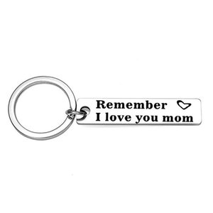 Fashion Accessoriess Remember I Love You Mom Dad Son Daughter Family Jewelry Stainless Steel Pendant Charm Keychain Key Rings