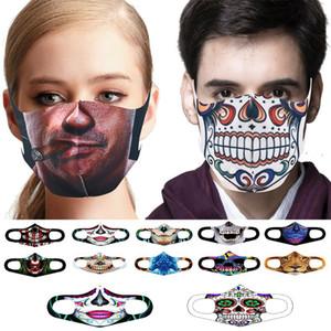 Masque Halloween Noël en tissu anti-poussière Masque drôle Coton USA Homme Femme Unisexe Hiver chaud Lavable Halloween Masque 200pcs T1I2608