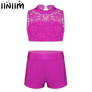 iiniim Kids Girls Athletic Gymnastics Leotard Ballerina Dance Wear Floral Lace Top with Bottoms for Ballet Dance Costumes