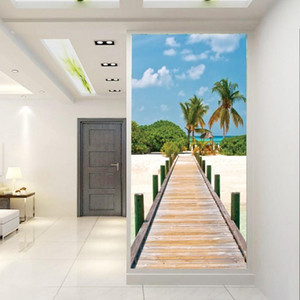 Drop Shipping Mural 3d Vertical Version Corridor Bedroom Living Room Background Wallpaper Seaside Wood Bridge Wallpaper Mural