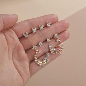 2020 Yeni 8 adet / Zarif Kristal Kelebek Earcuffs Sevimli Kadın Ay Ve Star Küçük saplama Küpe Vintage Zirkon Taş Küpe Setleri