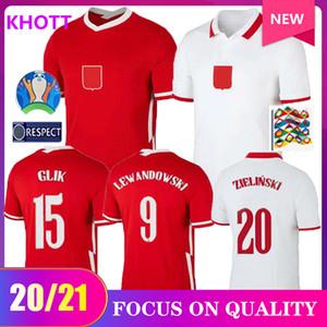 equipe nacional Pol e Futebol Início branco afastado vermelho LEWANDOWSKI Milik Piszczek Piatek Grosicki camisa de futebol Camisas de uniforme 2020 2021