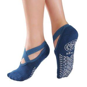 Antideslizante mujeres entrenamiento de yoga calcetines de bote vendaje diseño puro colores geométrico impreso deportes ejercicio entrenamiento entrenamiento calcetín interior piso de piso 7ml e19