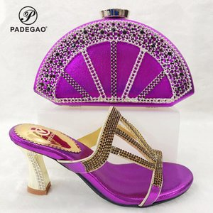 Special Design Purple Color Matching Shoes and Bags African In Women with Shinning Crystal Sandals For Wedding
