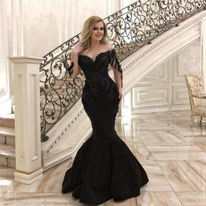 Sexy Black Mermaid Long Sleeves Evening Dresses 2021 Beaded Saudi Arabic Sheer Neck Satin Long Prom Gowns Floor Length Formal Party Dress