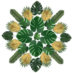 120 30Pcs Artificial Monstera Plants Tropical Palm Tree Leaves for Hawaiian Luan Greenery Wedding Party Decoration Photography 1029