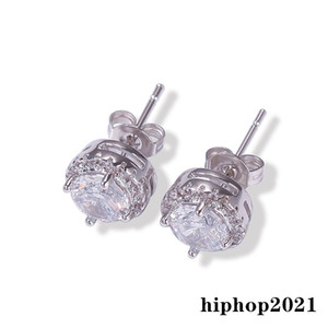 Mens Hip Hop Stud Earrings Jewelry Black Silver Simulated Diamond Round Earrings For Mens Jewelry