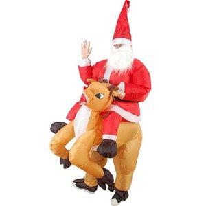 Поставляет рождественские одежды талисман SSS кукла Santa оленей одеваются езда олень надувной костюм Claus взрослый надувной реквизит мультфильм qoxw