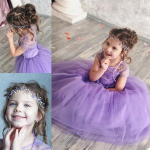 Lanvende Cute Flower Girl Dresses For Wedding Jewel Neck Floor Length Lace Up and Button Back Girls Pageant Dress Kids Birthday Gowns