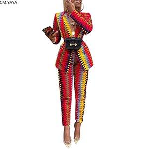 الخريف الشتاء النساء رياضية طويلة الأكمام السترة مستقيم السراويل الدعاوى رأ النساء مخطط طباعة عارضة الأزياء 2 قطعة دعوى T200117