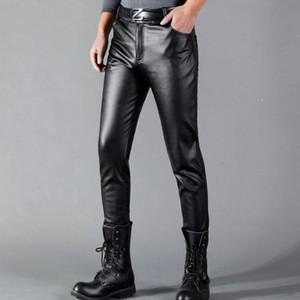 Thoshine Marke Herren Leder Hosen Slim Fit Elastic Style Frühling Sommer Mode PU Lederhose Motorrad Hosen Streetwear
