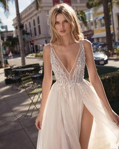 2020 Berta Bohemian Wedding Dresses Beaded Deep V Neck Boho Bridal Gowns A Line Side Split Floor Length Tulle Vestido De Novia