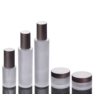 Frosted glass cosmetic jars pump bottles with plastic woodgrain cap 30g 50g 30ml 100ml 120ml body lotion lip balm cream containers