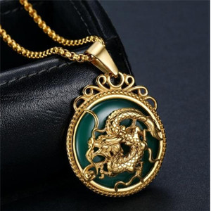 Gold Necklace Chinese Tibet Gold Animal Necklaces Malay Jade Pendant Women Stainless Steel Green Jade Dragon Pendant Men Boys