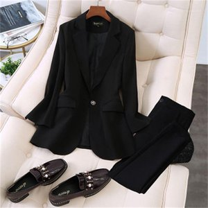Fashion suit suit female work clothes spring New high quality large size Leisure business Blazers Elastic pant two-piece Set1