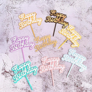 Il New Happy Birthday cake topper acrilico oro rosa Double Layer Cake Topper Per Ragazze festa di compleanno Decorazione Baby Shower