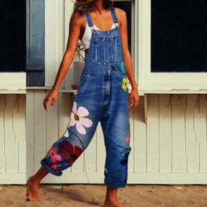 Women's Denim Jeans Fashion Bib Pants Casual Button Solid Sexy Long Rompers Female Bib Pants Jumpsuits Size S-3xl #T1G 200930