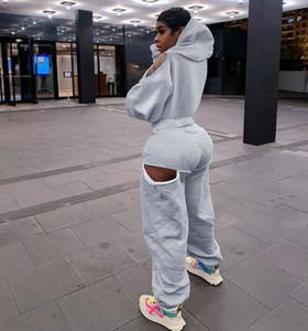 Fixsys 2020 à manches longues Cut Out Sweat à capuche zippé Joggings Ensemble 2 pièces Femmes Automne Hiver Sweats à capuche surdimensionnée Survêtement