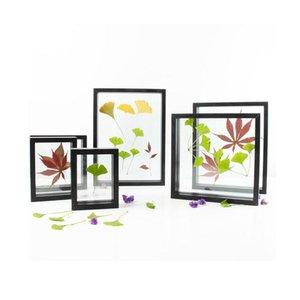 떠있는 나뭇잎 꽃 투명 이미지 사진 DIY 선물 9 크기 컬렉션 블랙 화이트 파인 호두를위한 나무 플로트 프레임