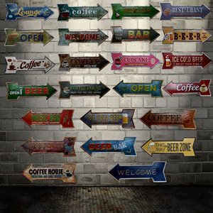 [ WellCraft ] BEER COFFEE CUPCAKE BAR Arrow Signs Wall Plaque Poster Decor for House cafes Room OPEN Metal Painting HY-1703 Q1107