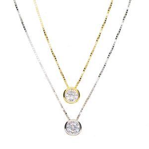 designer earrings earrings latest single stone necklace fine delicate box chain 925 sterling silver bezel 5mm Sparking cubic zirconia simple