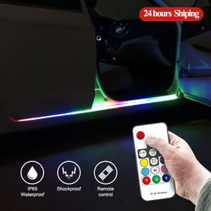 2pcs Flowing LED Car Door Light Strip Universal Auto Under Door Atmosphere Light Decorative Welcome Lamp Strip Remote Control