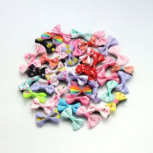 100pcs  Lot Hair Accessories Small hair clips for girls Mini 3cm Bow Sweet Printing Baby Girl Kids Hairpins Children Barrette 201013