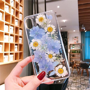 Clear Girls Real Flowers Phone Cases For iPhone 6 7 8 Plus X XR iPhone 11 Pro Max